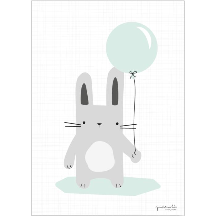 puderwolke_Hase_grau_Luftballon_mint