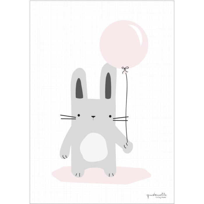 puderwolke_Hase_grau_Luftballon_rosa