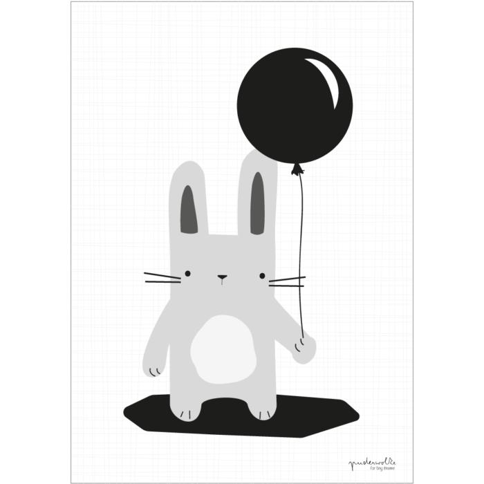 puderwolke_Hase_grau_Luftballon_schwarz